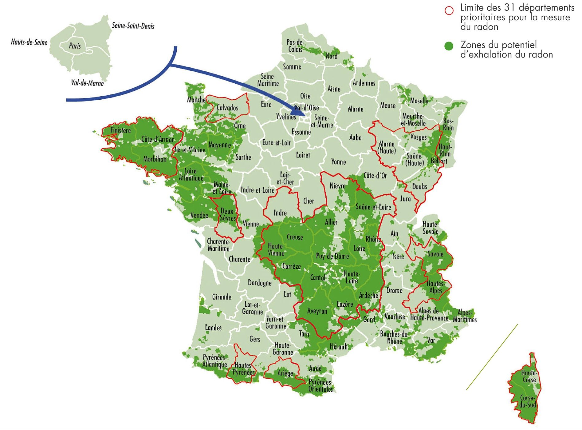 La carte du radon France